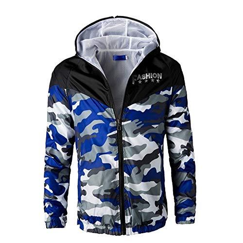 Beonzale Herren Camouflage Gedruckt Langarm Reißverschluss Sweatshirt Freizeit Sport Outdoor Zip Hoodie Funktionsjacke Freizeitjacke Coat Top