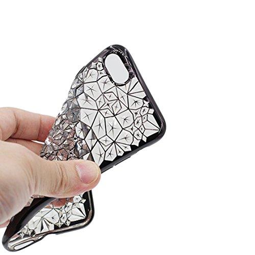 Custodia iPhone 7, Case TPU Durable Cute Shockproof Copertura per iPhone 7 ( 4.7 ) Cover Shell TPU / (Mentale) / Cigno ( Nero ) Argenteo 2