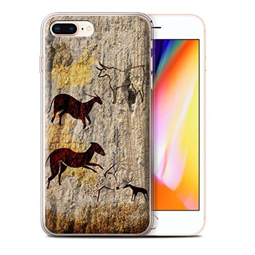 Stuff4 Gel TPU Hülle / Case für Apple iPhone 8 Plus / Tiere/Braun Muster / Höhlenmalerei Kollektion Tiere/Braun