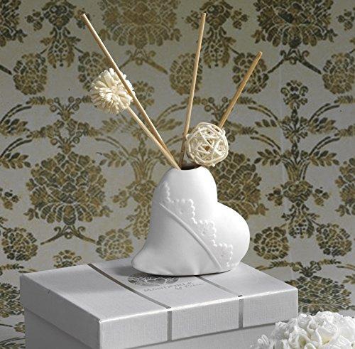Profumatore cuore in porcellana - bomboniera matrimonio con elegante scatola by mandorle bomboniere