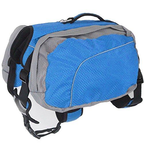 Hund Rucksack Leicht und Wasserdicht Haustier Verstellbar Satteltasche Hundegeschirr Carrier mit Abnehmbarer Taschen für Outdoor-Reise Wandern Camping Training