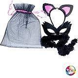 AEC - AC2290  - Set chatte noire - sac tulle avec serre tete - loup- queue marabout