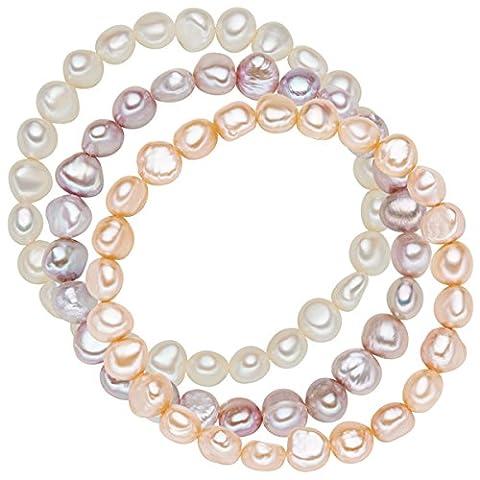Valero Pearls Damen-Armband 3er Set Perle Süßwasser-Zuchtperle 19 cm -
