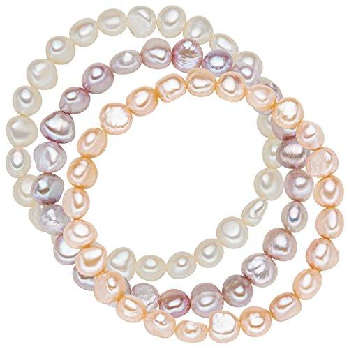 Valero Pearls Damen-Armband 3er Set Perle Süßwasser-Zuchtperle 19 cm - 60201783