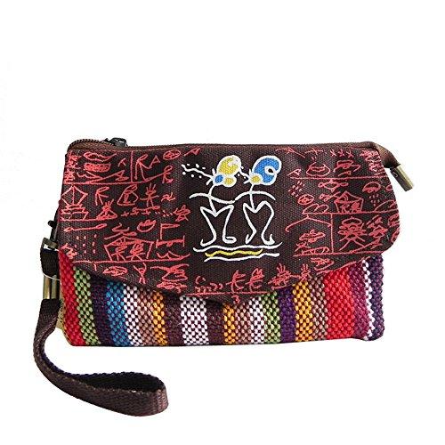 H&W Donna Canvas Clutch Borsa Folk-custom Polso Borsa Grigio Rosso