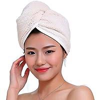 Toalla ultra absorbente Fyore tipo turbante para secado rápido anti encrespamiento, diseño en microfibra de lujo para mujeres, beige, 60*32cm