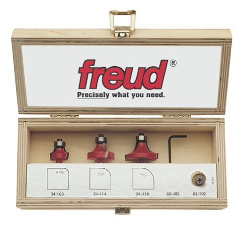 Freud 89-100 3-Piece Round Over and Beading Router Bit Set by Freud -