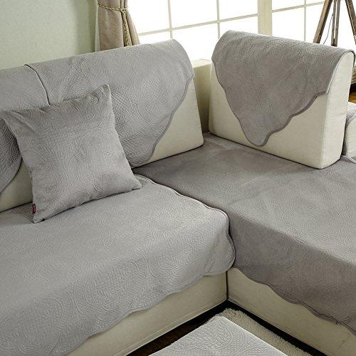JiaQi Wasserdicht Vier jahreszeiten Sofa handtuch,Plüsch Urin Staubdichte couch,Sofa-cover-matten Anti-rutsch-sofa slipcovers Haustier abdeckung für couch Volltonfarbe-Grau 45x45cm(18x18inch) (Großes Sofa 2-sitzer)
