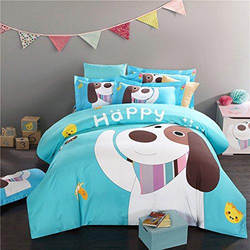 Mädchen Für Twin-bett-sets Eulen (memorecool Haustierhaus Cartoon Hund blau Betten Sets 3Brushed Warm Kinder Bettbezug und Bettlaken für Winter und Herbst reine Baumwolle, baumwolle, dog1 flat, Twin)