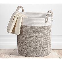 Storage Baskets Cotton Large H38 x φ31.5cm Terracotta Woven Basket Rope Decorative Baskets for Towel, Laundry, Magzine, Gift Basket