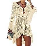 Jinsha Vestido de Playa - Mujer Pareos y Camisola de Playa Sexy Hueco Traje de Baño Punto Bikini Cover up