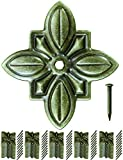FUXXER - 50x Antik Dekor Nägel | Zier-Kopf-Nägel, Polster-Nägel, Möbel-Nägel | Vintage Messing Bronze Antik Optik | Flower, 30 x 27mm 50er Set