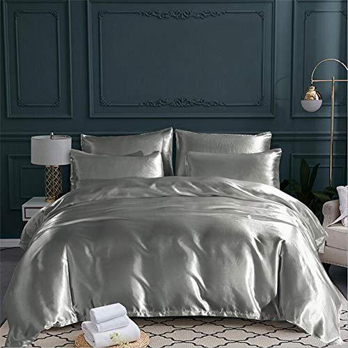 QY&Duvet 100% Seide Satin Tröster Abdeckung, Ultra Weich Silk Ausgestattet Bettwäsche Bettbezug & Kissenbezüge Set-Silber 220x230cm(87x91inch)