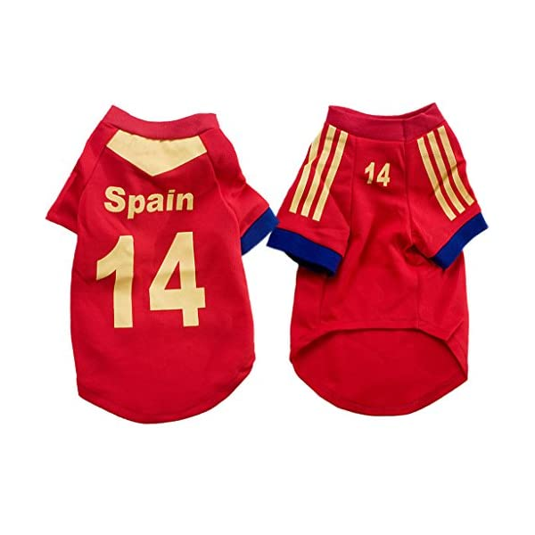 ae3deca46f2 ... World Cup Pet Football T-shirt Dog Sweater Sport Jersey for Spain. 🔍.  Zoom