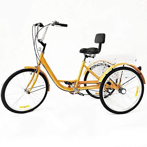 RANZIX Dreirad Für Erwachsene 24 Zoll 6 Geschwindigkeit 3 Rad Fahrrad Dreirad Pedal mit Warenkorb (Gelb ohne Scheinwerfer)