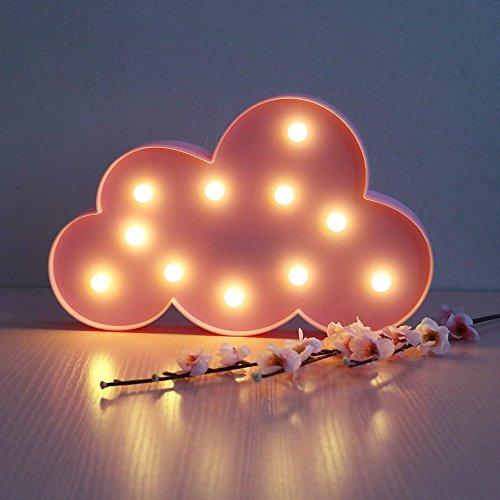 ht / Lampe in Mondform, dekorativ, 3D, für Festzelt, Tisch, Wand, Dekoration (batteriebetrieben), warmweiße Farbe, für Kinder, Weihnachtsgeschenk, Wohnzimmer, Schlafzimmer, Zuhause, Dekoration, Mond, Stern, Wolke (VC067) Art Deco Pink Cloud (Lichter Für Die Dekoration)