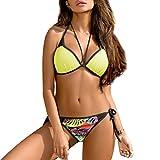 Ehpow Damen Bikini Set Push up Bikini Bademode Zweiteiler Strand Swimwear Badeanzug Swimsuits Beachwear (Small, Gelb-s)
