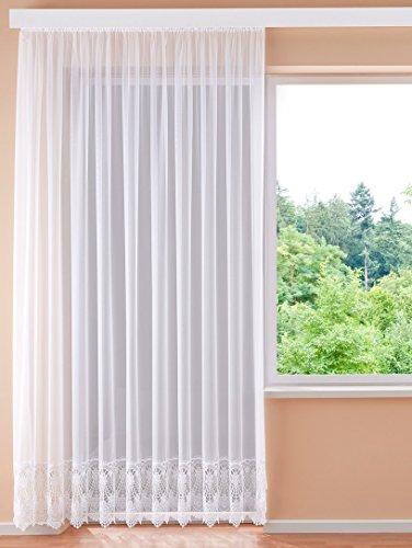 Plauener Spitze Hochwertige Gardine H/245 x B/450 cm Fertiggardine Stores Blumenfenster