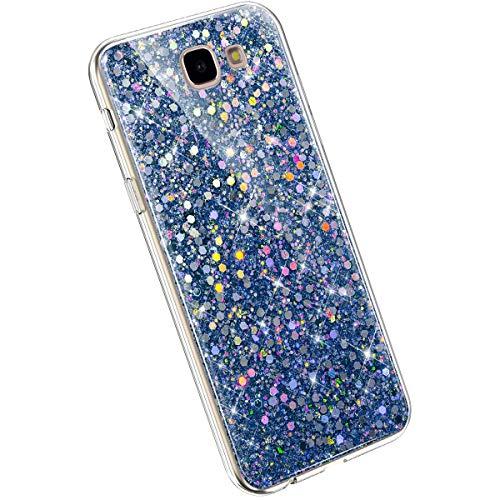 Ysimee Glitzer Hülle kompatibel mit Samsung Galaxy J7 Prime 2016, Handyhülle Galaxy On7 2016 Glitzer, Bling TPU Hülle Case Etui Kratzfest Anti-Fall Stoßdämpfend Schutzhülle TPU Silikon Cover, Blau