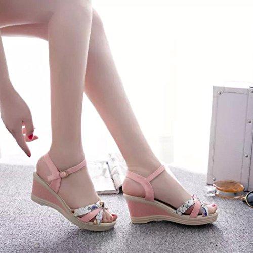 Transer® Damen Sandalen Keilabsatz Knoten Kunstleder+Kunststoff Rosa Blau Weiß Sandalen (Bitte achten Sie auf die Größentabelle. Bitte eine Nummer größer bestellen) Rosa