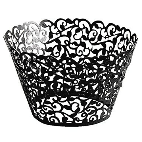 How to Get Cheap4uk 25pcs Filigree Vine Cupcake Wrappers for Wedding /Birthday /Baby Shower Decoration(Black)