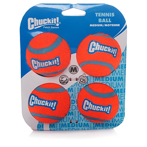 Chuckit Dog Tennis Ball Medium 6.5cm, 4 per pack, Dog Toy
