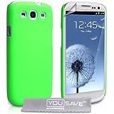 Yousave Accessories® Samsung Galaxy S3 Tasche Grün Harte Zurück Hülle Mit Displayschutz