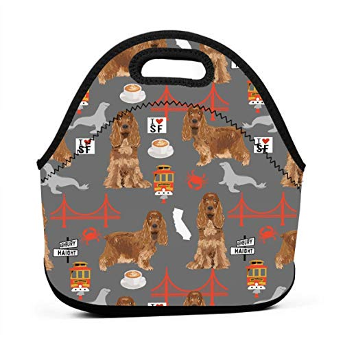 Cocker Spaniel San Francisco Cocker Spaniel Cute Dog San Fran Cute Dog grey Lunch Bag for Men Women,Leakproof Insulated Cooler Bag Picnic Boating Beach Fishing Work