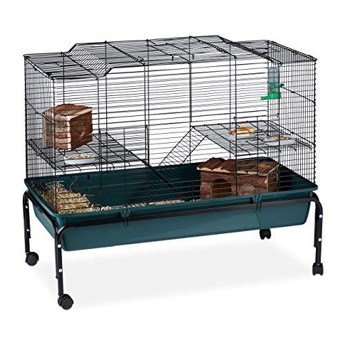 Relaxdays Hamsterkäfig, 2 Etagen, mit Rollen, Stahl, Polypropylen, Grün, 85 x 100 x 50