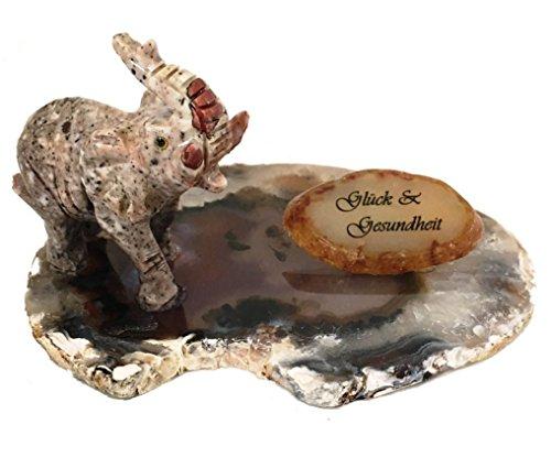 Achat Edelstein Mineralien Botschaft Unikat Figur Elefant aus Speckstein Bedruckt mit Text: Glück & Gesundheit