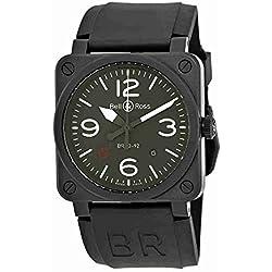 Bell y Ross Militar Tipo automático verde Dial Mens Reloj br0392-mil
