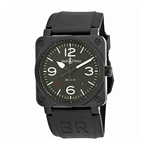 Bell und Ross Militär Typ Automatische Zifferblatt oliv Herren Armbanduhr br0392-mil