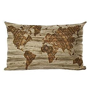 yohoba lino y algodón rectangular funda de almohada retro vintage old granero madera mapa del mundo fundas de almohada Lumbar 12x 18pulgadas