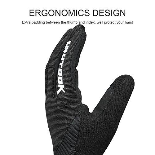 Kutook Herren Fahrradhandschuhe Mit Gel Vollfinger MTB Handschuhe für das Radfahren(Schwarz,L) - 5