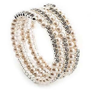 Wide Imitation Pearl Beaded & Clear Crystal Coil Flex Bangle Bracelet