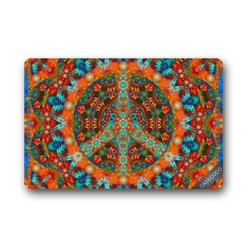 Custom Peace Sign Tie Dye Doormat Cover Rug Outdoor Indoor Floor Mats Non-Slip Machine Washable Decor Bathroom Mats