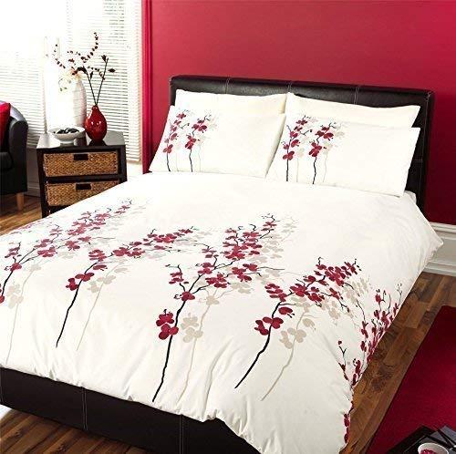 Creme Chinese Blossom Floral Rot Schwarz Beige King Größe Bettwäsche Tröster Bezug -