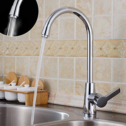 Auralum® 360°monocomando cucina rubinetto miscelatore lavandini vanità rubinetti con canna alta cascata lavabo rubinetto da bacino,in ottone cromato rubinetto da bagno,tipo U
