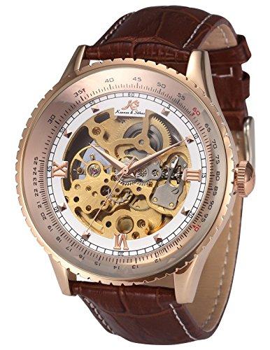 KS KS113 - Relojes de pulsera hombre, esqueleto mecánico automático reloje con correa de cuero marrón