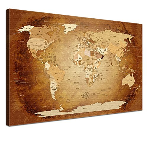 "LANA KK - Weltkarte Leinwandbild  \""Worldmap Braun Colorful\"" - deutsch - Kunstdruck-Pinnwand auf Echtholz-Keilrahmen - Globus in braun, einteilig & fertig gerahmt in 120x80cm"
