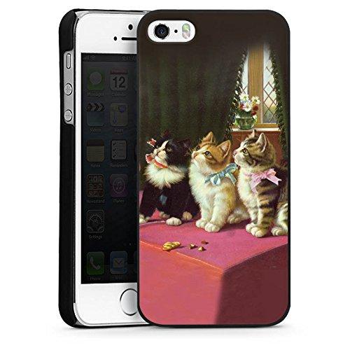 Apple iPhone 4s Housse Étui Silicone Coque Protection Paul Klee Des chats et un perroquet Art CasDur noir
