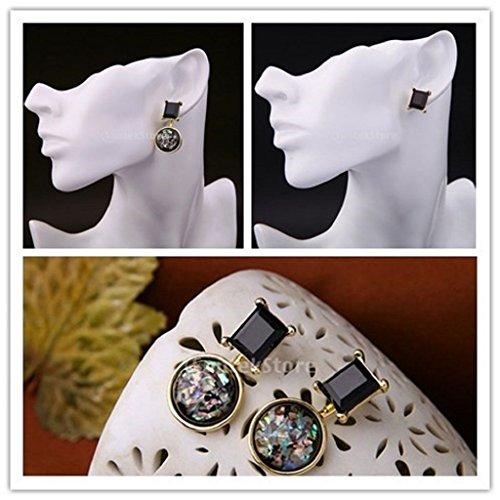 ELECTROPRIME 1Pair Men Women Gemstone Gold Ear Stud Dangle Earrings Wedding Party...