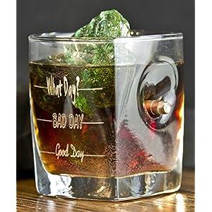 KolbergGlas Whiskey Glas mit realem Geschoß cal.308 und Gravur – Good Day- Bad Day- What Day?- Geschenkidee