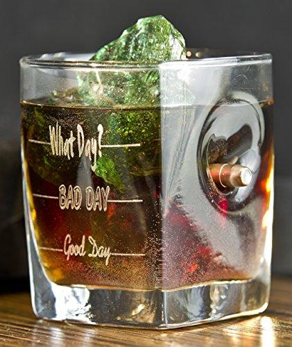 KolbergGlas Whiskey Glas mit realem Geschoß cal.308 und Gravur - Good Day- Bad Day- What Day?- Geschenkidee - Waschen Geschirrspüler