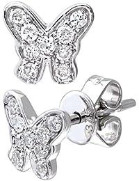 Naava Damen-Ohrstecker 9 Karat Schmetterling 375 Weißgold rhodiniert Diamant (0,20 ct) weiß Rundschliff DE1128W