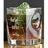 Regalo per Uomini Bicchiere da Whisky con calibro proiettile reale 308 e gratuito- Incisione- Good Day, Bad Day,What Day?