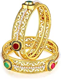 Best Christmas Gifts : Jewels Galaxy Incredible Pearl & Ruby Designer Fascinating Traditional Bangle Set For Women...