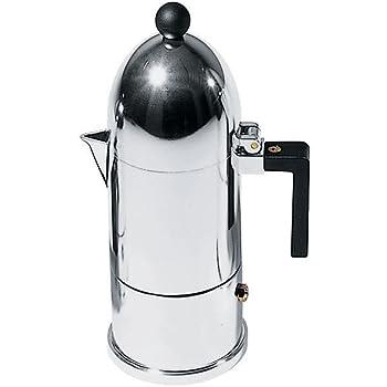 Alessi A9095/3 B La Cupola Caffettiera Espresso in Fusione di Alluminio, Manico e Pomolo in PA, Nero