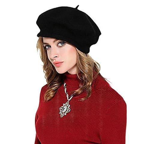 Women Girl Beret Hat- Winter Autumn Spring Fashion Cap French Beanie Hats Warm Wool Headwear for Fancy Dress Daily Wear Party Amazing Accessory Gift, Black, One