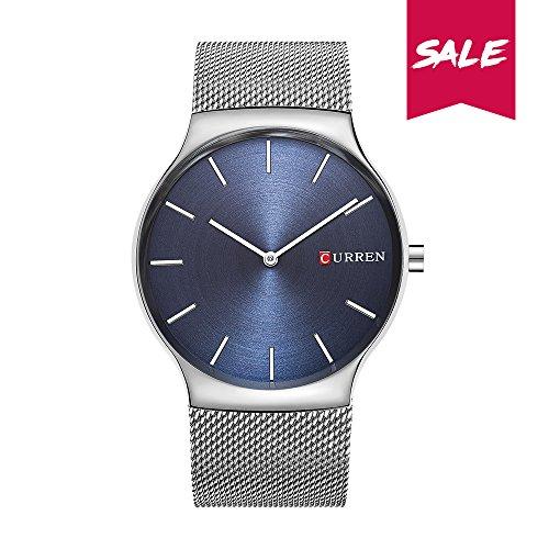 CURREN Luxusmarke, analoge Sportuhr, Herren Quarzuhr, Business-Uhr Armbanduhr Uhr, Edelstahl Schwarz/Splitter/Blau (Blau)